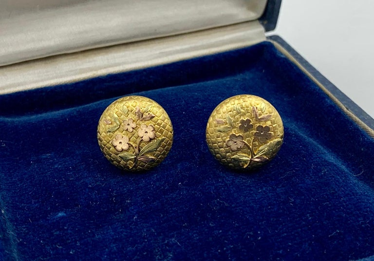 Victorian Flower Earrings Etruscan Revival Gold In Good Condition For Sale In New York, NY