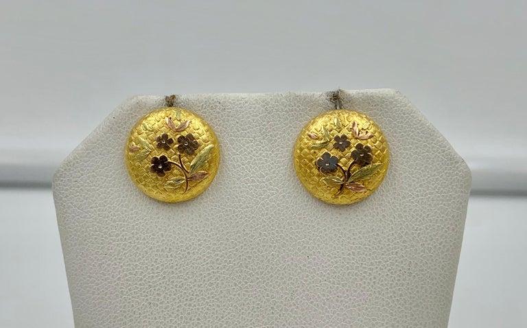 Women's Victorian Flower Earrings Etruscan Revival Gold For Sale