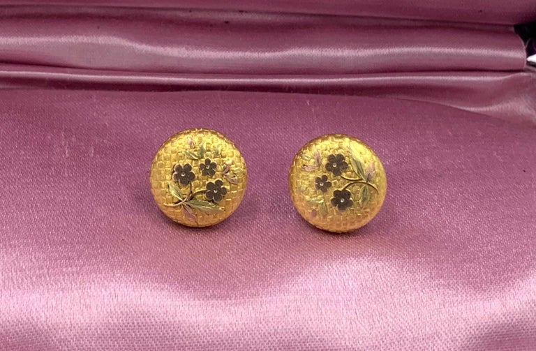 Victorian Flower Earrings Etruscan Revival Gold For Sale 2