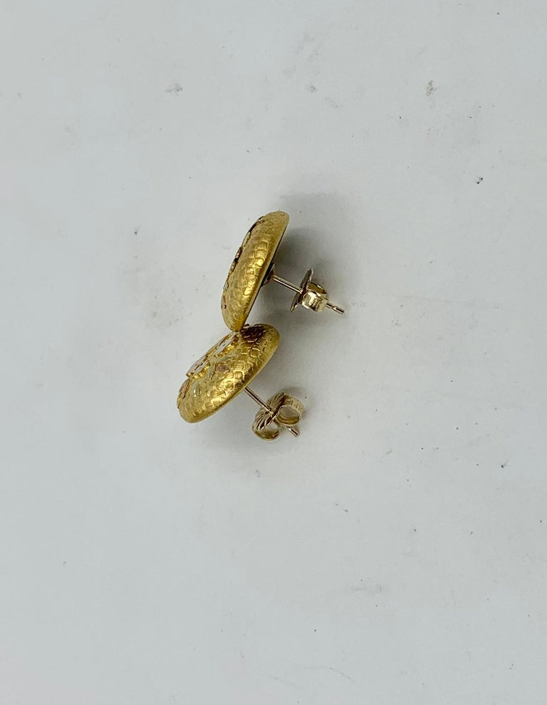 Victorian Flower Earrings Etruscan Revival Gold For Sale 4