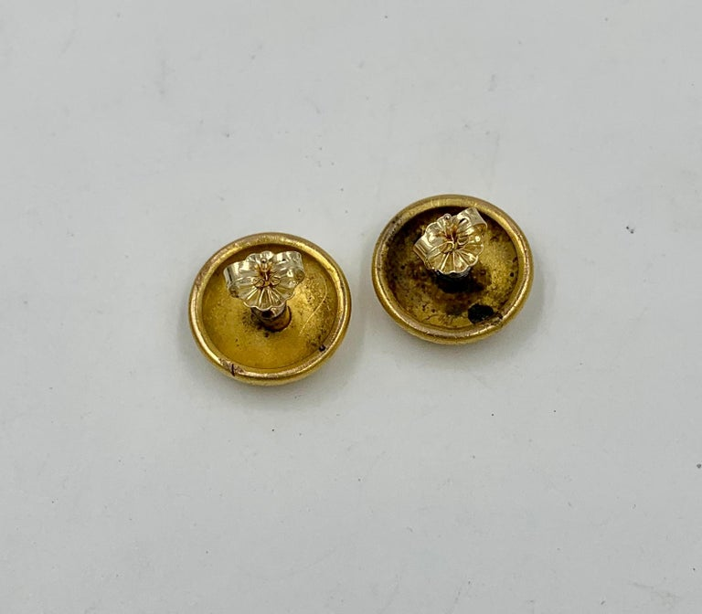 Victorian Flower Earrings Etruscan Revival Gold For Sale 5