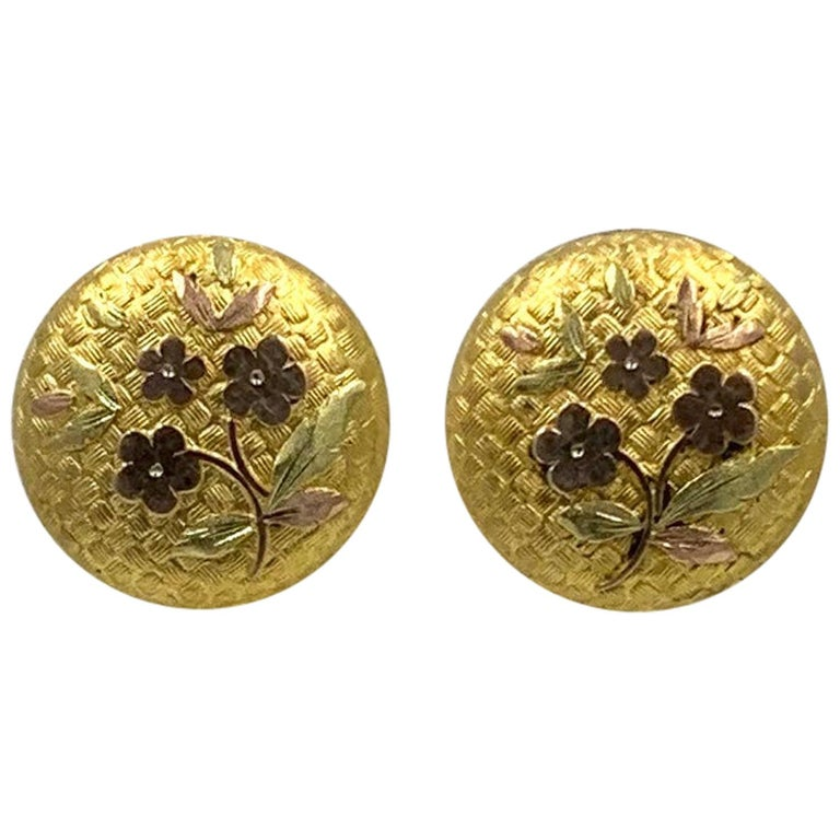 Victorian Flower Earrings Etruscan Revival Gold For Sale