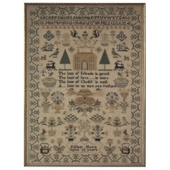 Victorian Folk Art Textile Sampler, Dated 1840 by Esther Nunn