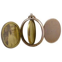 Victorian Four Picture Locket Pendant, Gold