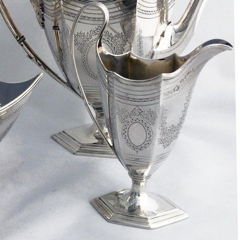English Victorian Four-Piece Tea Set For Sale