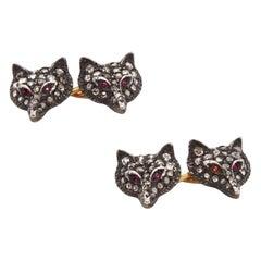 Victorian Fox Diamond and Ruby Cufflinks, circa 1880s
