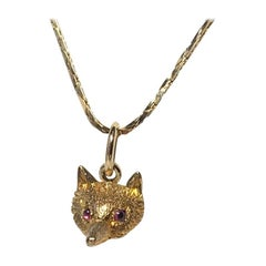 Victorian Fox with Ruby Eyes Pendant Charm Gold
