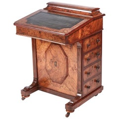 Victorian Freestanding Inlaid Burr Walnut Davenport