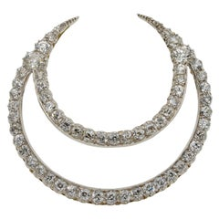 Victorian French 12.20 Carat Diamond Double Crescent Moon 18 Karat Brooch