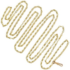 Victorian French 18 Karat Yellow Gold Link Long Chain Necklace