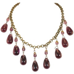 Victorian French Amethyst Poured Glass & Chain Link Necklace, 1870s