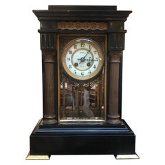 Victorian French Black Marble, Slate and Bronze Clock by Tiffany and Co New York