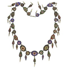 Victorian French Bresse Bressan Enameled and Paste Festoon Necklace