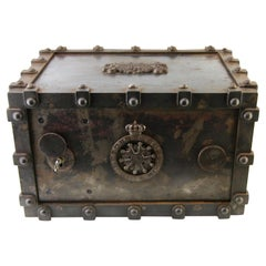 Victorian French Cast Iron Bound Strong Box by Bauche Brevete, an Key