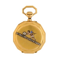 Victorian French Diamond Enameled Cherub Gold Pocket Watch