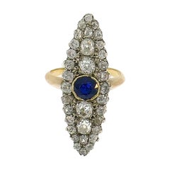 Victorian French Diamond Sapphire Gold Ring Antique