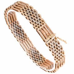 Victorian French Gate Two-Tone Gold Link Bracelet