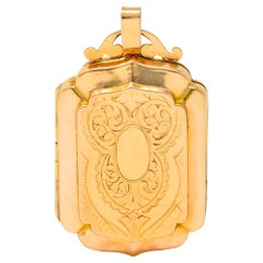 Victorian French Glass 18 Karat Two-Tone Gold Locket Pendant