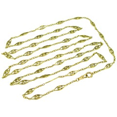 Victorian French Long Guard Chain Link Necklace