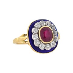 Victorian French Natural Ruby, Diamond, and Blue Enamel Ring