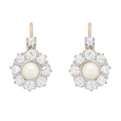 Victorian French Pearl and Diamond Cluster Earrings, circa 1900s