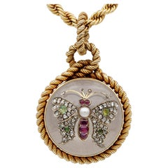 Victorian French Rock Crystal Diamond Pearl Rare Locket Chain