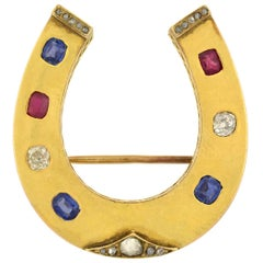 Victorian French Ruby, Diamond, and Sapphire Horseshoe Pin