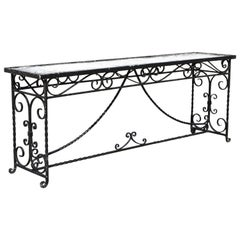 Victorian French Scrolling Wrought Iron Long Console Sofa Table Plant Stand