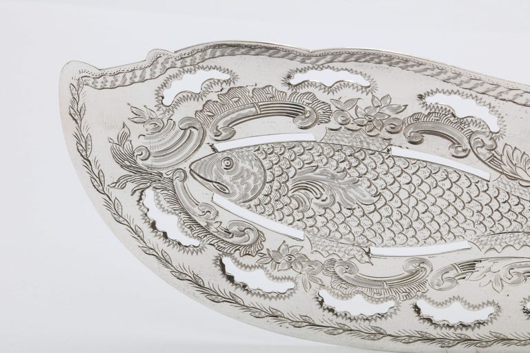 Late 19th Century Victorian French Tiffany & Co. Sterling Silver Fish Slice For Sale
