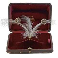 Victorian French Tremblé Diamond Flower Tiara in Original Box