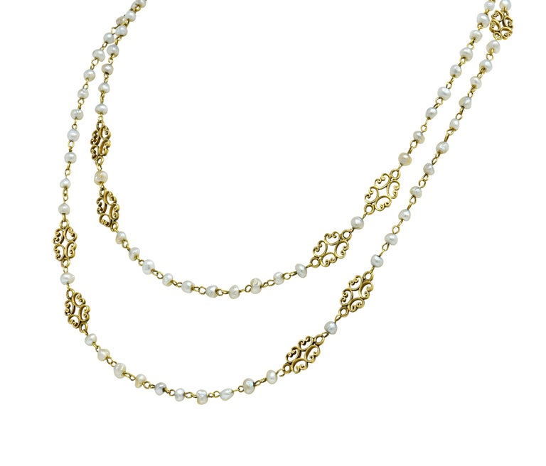 Round Cut Victorian Freshwater Natural Pearl 18 Karat Gold Multi-Strand Necklace For Sale