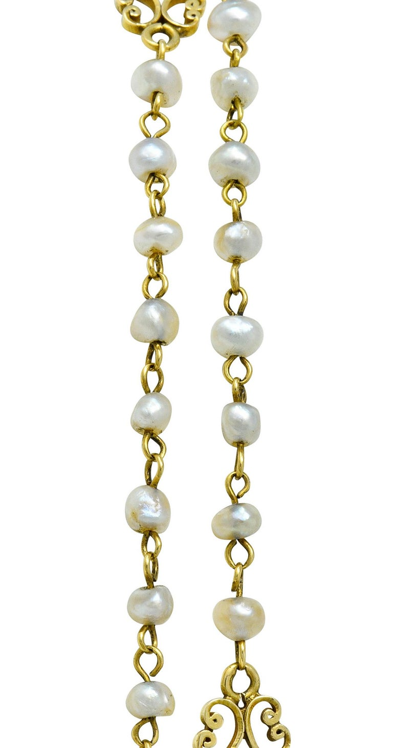 Victorian Freshwater Natural Pearl 18 Karat Gold Multi-Strand Necklace For Sale 2