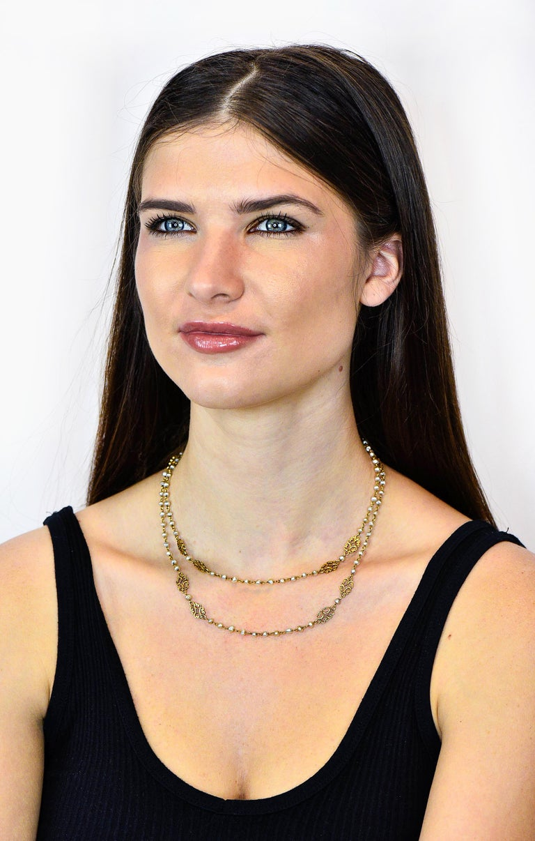 Victorian Freshwater Natural Pearl 18 Karat Gold Multi-Strand Necklace For Sale 4
