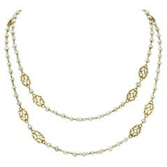Victorian Freshwater Natural Pearl 18 Karat Gold Multi-Strand Necklace