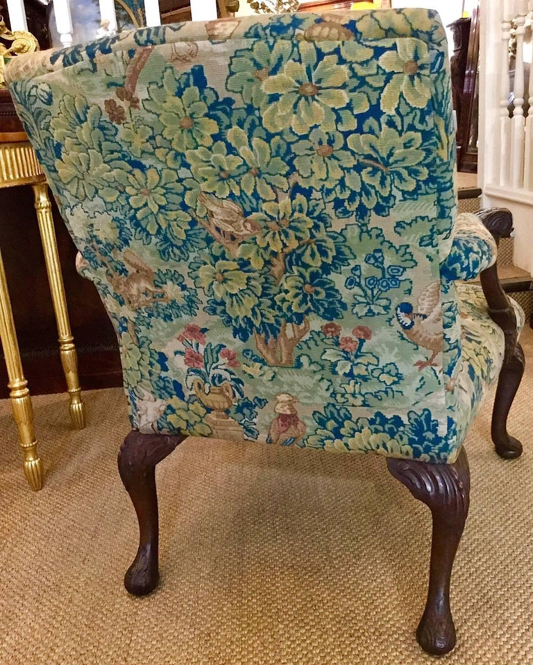Victorian 'Gainsborough Style' Mahogany Framed Tapestry Armchair, circa 1860 For Sale 6