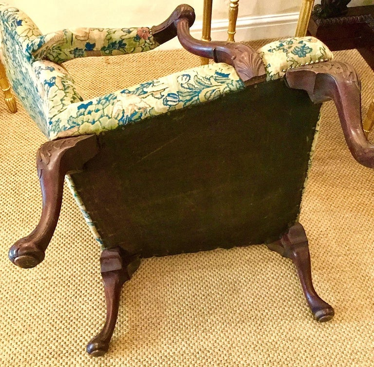 Victorian 'Gainsborough Style' Mahogany Framed Tapestry Armchair, circa 1860 For Sale 9