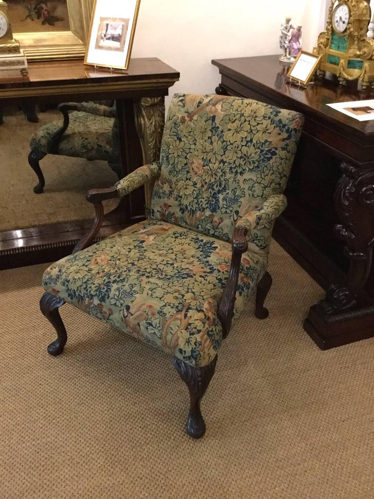 Victorian 'Gainsborough Style' Mahogany Framed Tapestry Armchair, circa 1860 For Sale 11