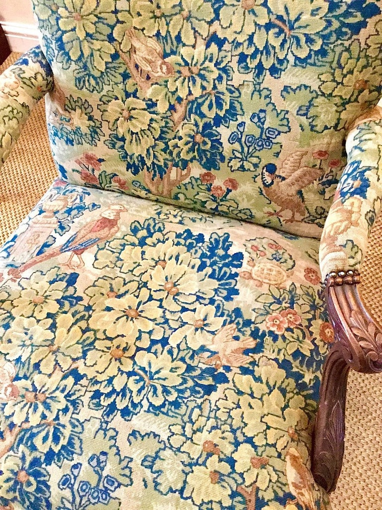 Irish Victorian 'Gainsborough Style' Mahogany Framed Tapestry Armchair, circa 1860 For Sale