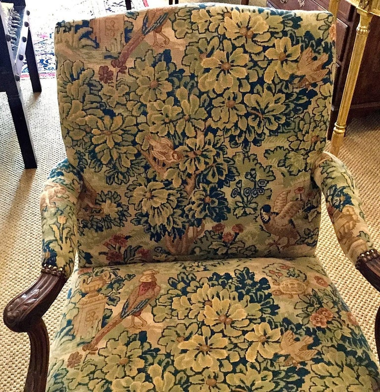 Woven Victorian 'Gainsborough Style' Mahogany Framed Tapestry Armchair, circa 1860 For Sale