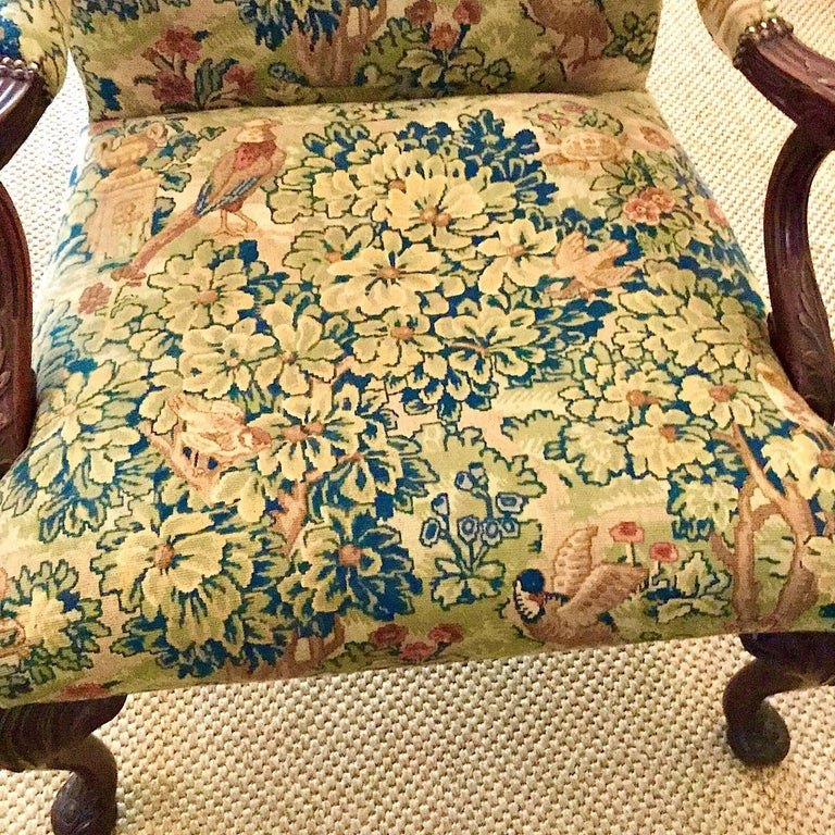 Victorian 'Gainsborough Style' Mahogany Framed Tapestry Armchair, circa 1860 In Good Condition For Sale In Stamford, GB