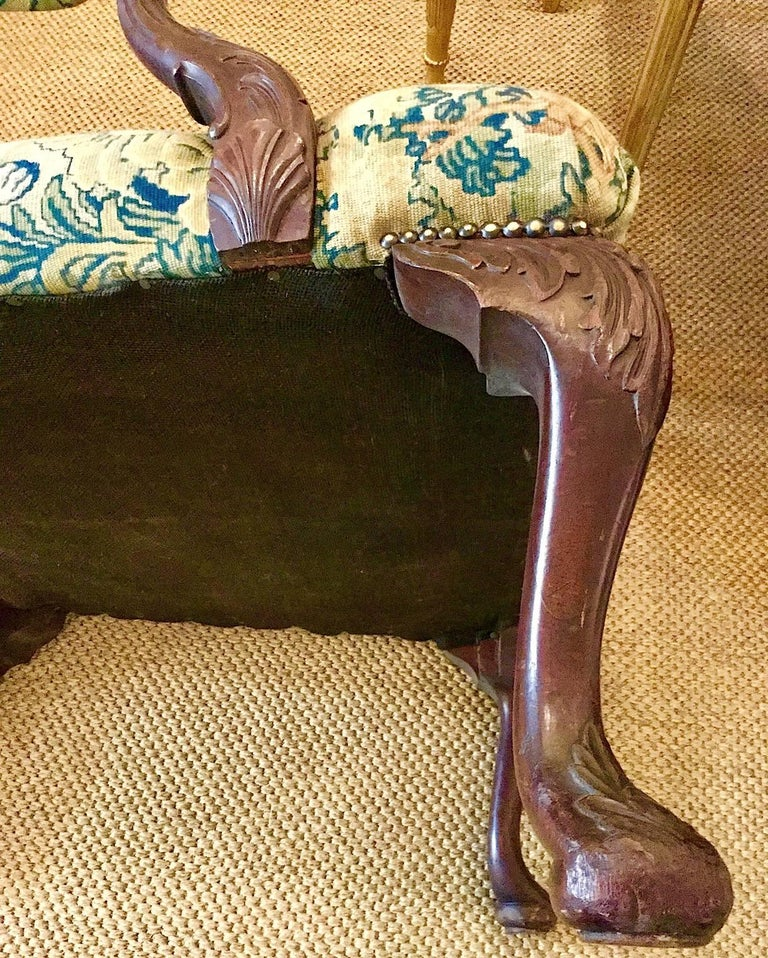 Victorian 'Gainsborough Style' Mahogany Framed Tapestry Armchair, circa 1860 For Sale 3