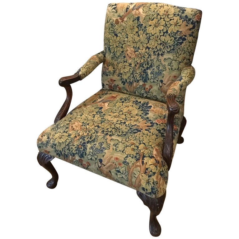 Victorian 'Gainsborough Style' Mahogany Framed Tapestry Armchair, circa 1860 For Sale