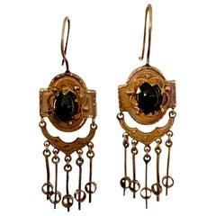 Victorian Garnet and 14 Karat Yellow Gold Dangle Earrings