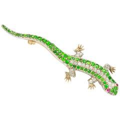 Victorian Garnet and Diamond Lizard Brooch
