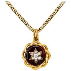 Victorian Garnet and Diamond Pendant