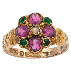 Victorian Garnet and Emerald Ring