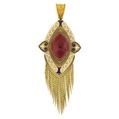 Victorian Garnet and Enamel Foxtail Fringe Pendant