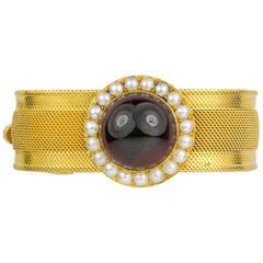 Victorian Garnet and Half Pearl Bracelet