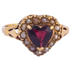 Victorian Garnet and Pearl 9 Carat Gold Heart Ring