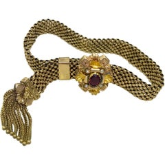 Victorian Garnet and Pearl Gold Filled Tassel Slide Bracelet